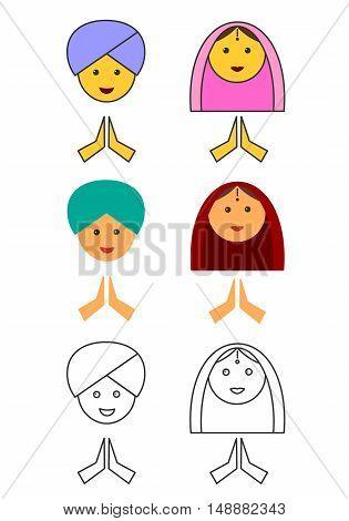 India Women. India man. flat linear futuristic icons. vector illustration