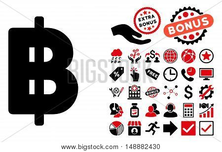 Baht icon with bonus pictogram. Glyph illustration style is flat iconic bicolor symbols, intensive red and black colors, white background.