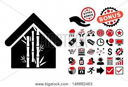 Bamboo House pictograph with bonus clip art. Glyph illustration style is flat iconic bicolor symbols, intensive red and black colors, white background.
