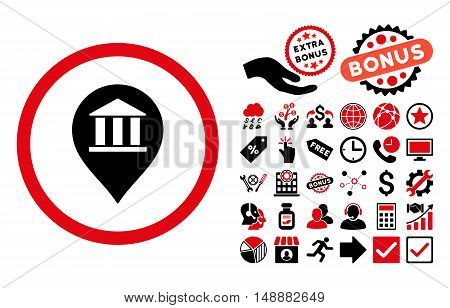 Bank Building Pointer pictograph with bonus pictogram. Glyph illustration style is flat iconic bicolor symbols, intensive red and black colors, white background.