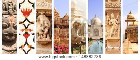 Collage with famous landmarks of India. Fort Amber in Jaipur, Taj Mahal in Agra, temple in Khajuraho; sculpture of elephants, women and hindu god