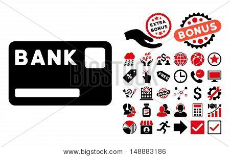 Bank Card icon with bonus pictures. Glyph illustration style is flat iconic bicolor symbols, intensive red and black colors, white background.