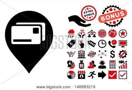 Bank Cards Pointer pictograph with bonus elements. Glyph illustration style is flat iconic bicolor symbols, intensive red and black colors, white background.