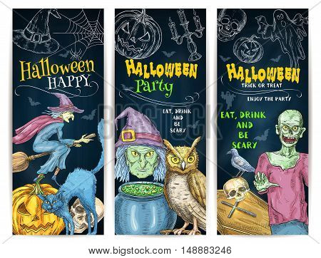 Halloween Party chalk pumpkin lantern, witch cauldron and broom, scary full moon, undead walking zombie, cemetery coffin. Vector color chalk sketch elements of Halloween Party on chalkboard for invitation banners, posters, decoration design