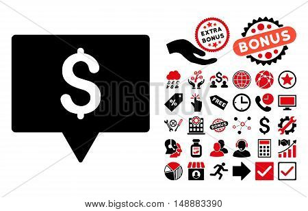 Bank Map Pointer icon with bonus images. Glyph illustration style is flat iconic bicolor symbols, intensive red and black colors, white background.
