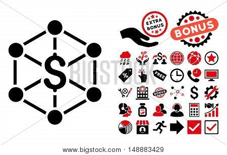 Bank Network pictograph with bonus icon set. Glyph illustration style is flat iconic bicolor symbols, intensive red and black colors, white background.