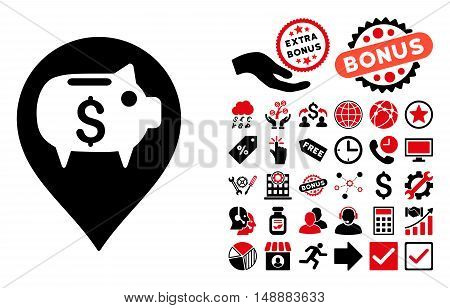 Bank Pointer pictograph with bonus design elements. Glyph illustration style is flat iconic bicolor symbols, intensive red and black colors, white background.