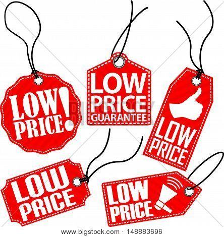 Low price red tag set vector illustration