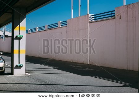 Entrance or exit of a Parking garage, idustrial background.