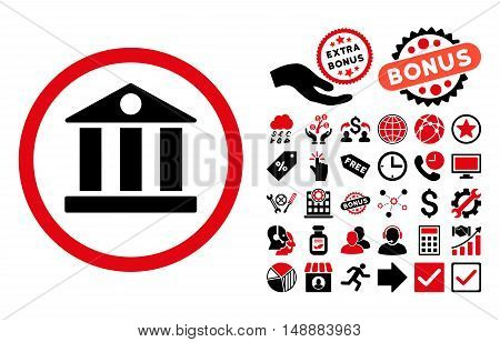 Bank pictograph with bonus pictures. Glyph illustration style is flat iconic bicolor symbols, intensive red and black colors, white background.