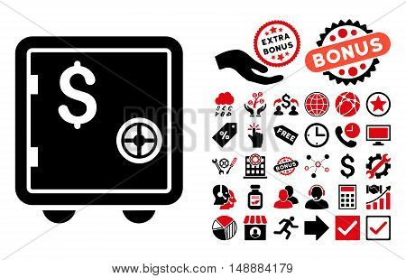 Banking Safe pictograph with bonus elements. Glyph illustration style is flat iconic bicolor symbols, intensive red and black colors, white background.