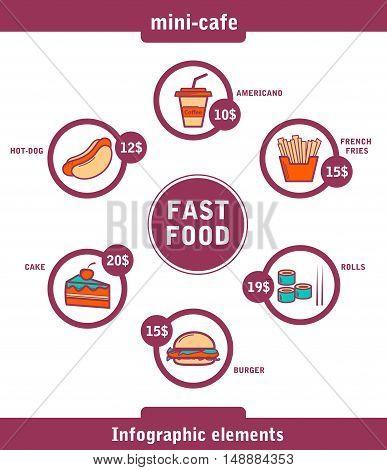 vector illustration fast food infographics set burger rolls french fries cake