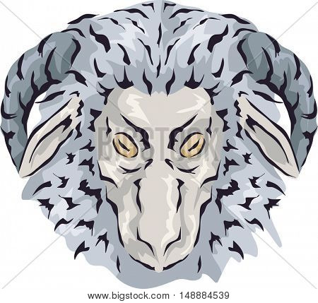 Animal Illustration Featuring a Looking Wooly Gray Lamb Showing Signs of Old Age