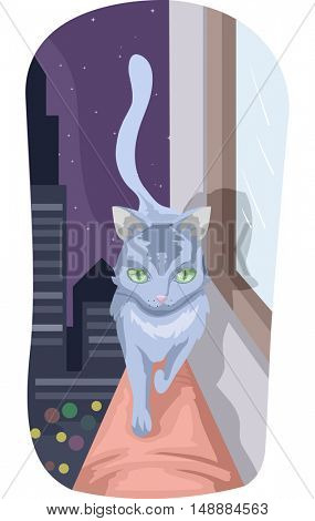 Animal Illustration Featuring a Cat Walking on the Ledge of a Building