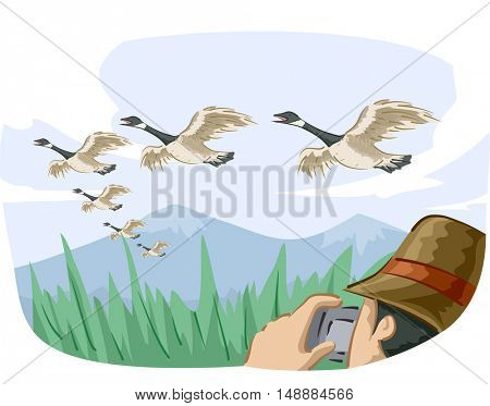 Animal Illustration Featuring a Bird Watcher Taking Photos of Migrating Geese