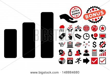 Bar Chart Increase pictograph with bonus pictures. Glyph illustration style is flat iconic bicolor symbols, intensive red and black colors, white background.