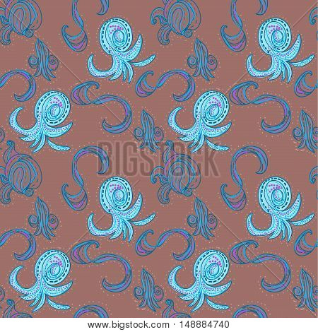 Raster  oriental seamless pattern on red background