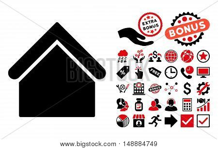Base Building icon with bonus pictogram. Glyph illustration style is flat iconic bicolor symbols, intensive red and black colors, white background.