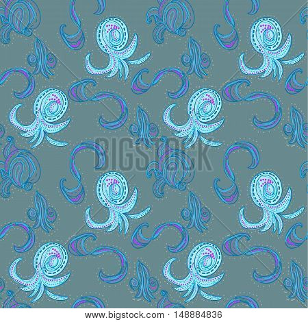 Raster seamless oriental patten. Paisley on blue background