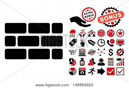 Brick Wall icon with bonus design elements. Glyph illustration style is flat iconic bicolor symbols, intensive red and black colors, white background.
