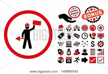 Builder With Shovel pictograph with bonus pictograph collection. Glyph illustration style is flat iconic bicolor symbols, intensive red and black colors, white background.
