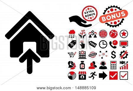 Building Entrance icon with bonus pictures. Glyph illustration style is flat iconic bicolor symbols, intensive red and black colors, white background.