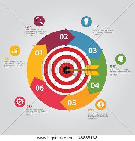 Business target infographic dart board arrow concept of goals achievement world map vector