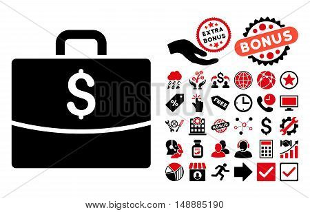 Business Case icon with bonus clip art. Glyph illustration style is flat iconic bicolor symbols, intensive red and black colors, white background.