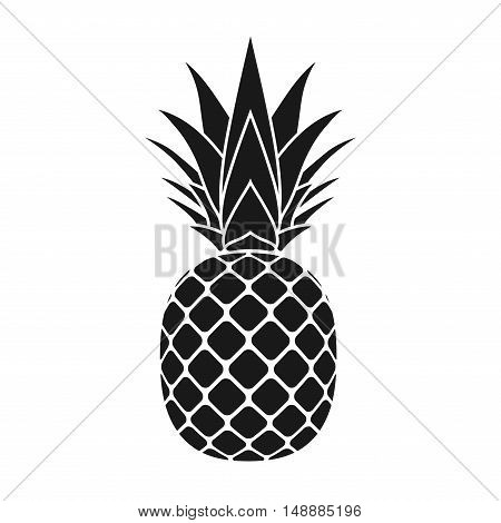 Pineapple with leaf icon. Tropical fruit isolated on white background. Symbol of food sweet exotic and summer vitamin healthy. Nature logo dessert. Flat concept. Design element Vector illustration