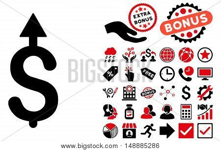 Business Growth pictograph with bonus elements. Glyph illustration style is flat iconic bicolor symbols, intensive red and black colors, white background.