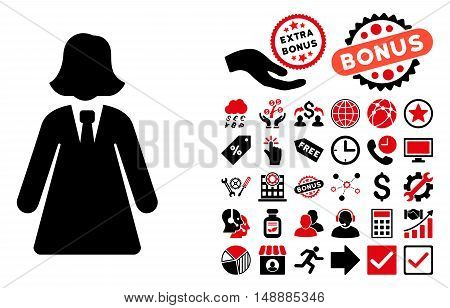 Business Lady pictograph with bonus pictogram. Glyph illustration style is flat iconic bicolor symbols, intensive red and black colors, white background.