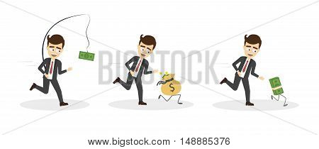 Money run set. Businessman tries to chase dollar, money bag and bundle of money. Concept of wealth, rat race and success.