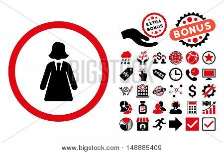 Business Lady pictograph with bonus pictograph collection. Glyph illustration style is flat iconic bicolor symbols, intensive red and black colors, white background.