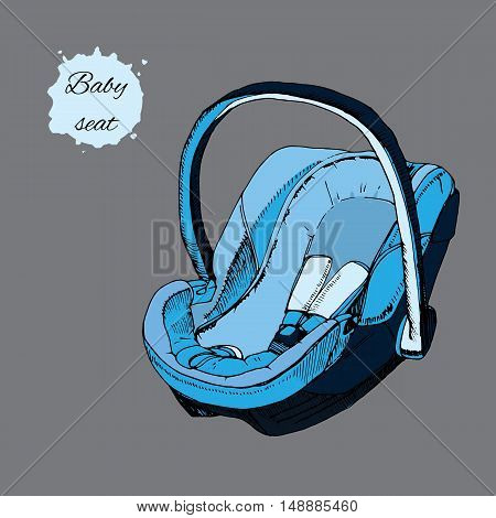 Vector illustration of hand drawn baby seat for infant in a car. Element for design. Transport for child