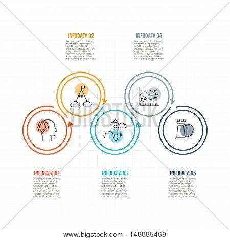 Thin line flat circles for infographic. Template for diagram, graph, presentation and chart. Business concept with 5 options, parts, steps or processes. Data visualization.