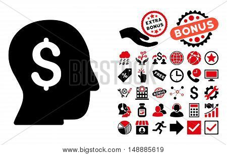 Businessman icon with bonus pictures. Glyph illustration style is flat iconic bicolor symbols, intensive red and black colors, white background.