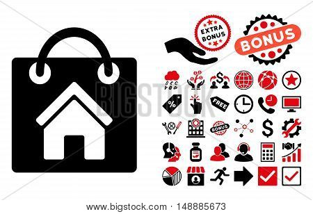 Buy Home pictograph with bonus pictures. Glyph illustration style is flat iconic bicolor symbols, intensive red and black colors, white background.