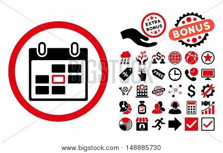 Calendar Day icon with bonus pictograph collection. Glyph illustration style is flat iconic bicolor symbols, intensive red and black colors, white background.