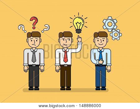 Business planning concept set. Young funny businessman with quiestion marks, idea light bulb and gear icons.