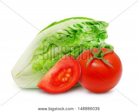 Isolated fresh salad romaine lettuce and red tomato with slice of ripe tomato on a white background. Design element for product label, catalog print, web use.