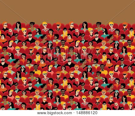 Auditorium audience hall large group people sitting chairs. Color vector illustration. EPS8