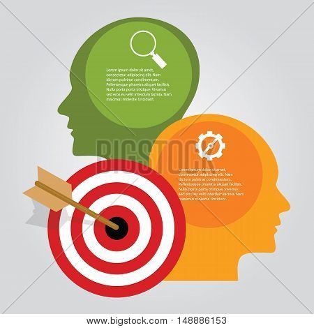 Business target infographic dart board arrow concept of goals achievement heads thinking vector