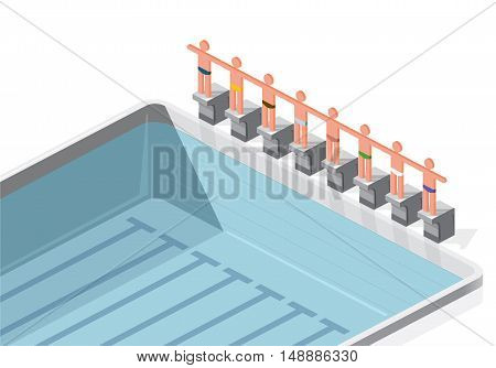 Isometric swimming pool with swimmers. Sportsmen on springboard prepare to swim in water. Race swimmers start to jump. Sport article illustration. Pictogram 3d element. Flatten isolated master vector.