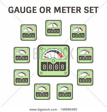 Gauge meter vector icon set design on white.