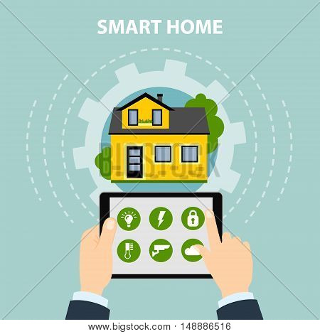 Smart home concept. Hands hold tablet and control home system as energy, conditioning, temperature and more. Wireless system.