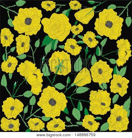 Raster floral background with yellow flowers on black background