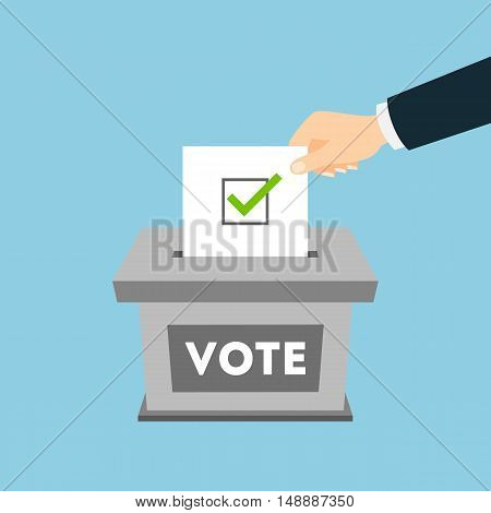 Isolated ballot box with vote paper on blue background. Concept of voting, ellection and balloting. Election campaign.
