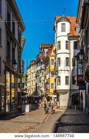 ST.GALLEN,SWITZERLAND - AUGUST 26,2016 - In the streets of St.Gallen. St.Gallen is situated in the northeastern part of Switzerland.