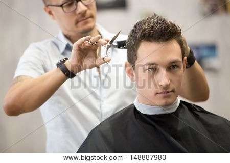 Portrait Of Handsome Young Man Getting Haircut