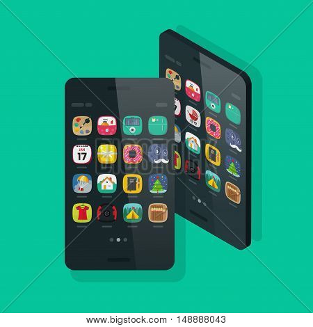 Smartphone isometric and front view vector isolated on colorful background, future slim mobile phone with app icon on screen, modern thin 3d cellular smart phone device flat cartoon style